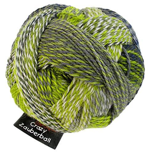Schoppel Wolle Zauberball Crazy Fb. 2204 Grüne Woche, Bunte Sockenwolle musterbildend mit Farbverlauf zum Stricken oder Häkeln