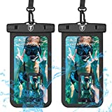 Universal Waterproof Case, 2-Pack Tekcoo IPX8 Waterproof Phone Clear Pouch Dry Bag Compatible iPhone 11 Pro Max/Xs Max/XR/X/SE 2020, Galaxy 20 Ultra/S20+/A20/A50/A21/A51/A01/Note10 & Phones Up to 6.5'