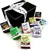 Pastiglie Leone Classic Pastilles 8-Flavor Variety: One 1 oz Package Each of Violet, Anise, Cinnamon, Peppermint, Coffee, Green Tea, Absinth, and Licorice in a BlackTie Box (8 Items Total)