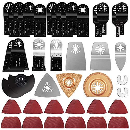 Gifort 120 tlg Oszillierendes Sägeblätter Kit, Mix Oszillierende Klingen Multi-Tool Zubehör für Holz, Kunststoff und Metall mit Schleifpapier