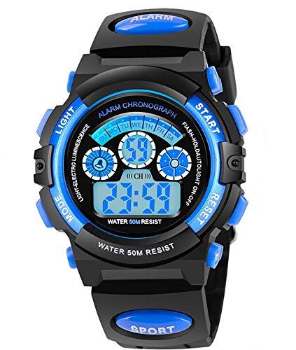 AZLAND 7 Colors Flashing Waterproof Outdoor Sports Kids Wristwatch Boys Girls Digital Watches Blue