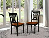 East West Furniture PVC BLK W Plainville dining chairs Wooden Seat and Black Hardwood Structure kitchen dining chair set of 2