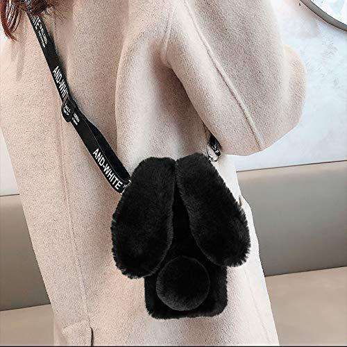 Cestor Plüsch Häschen Ohren HandyHülle für iPod Touch 7/6/5,Niedlich Winter Warm Pelzig Weich Flauschige Faux Pelz Glitzer Silikon Hülle mit Verstellbarer Umhängeband,Schwarz