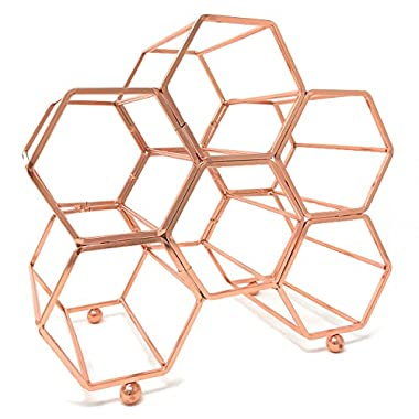 Clever Home Modern Hexagon 6 Bottle Table Top Steel Wine Rack (Rose Gold)