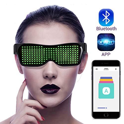 LED Brille Bluetooth APP Steuerung für Party | DIY Flashing Emotions Sonnenbrille für Männer Frauen Kinder | USB wiederaufladbar | 4 Modi 11 Animationen | Rave Cosplay Club Gläser,Green