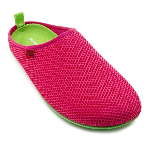 Unisex Hausschuhe in Pink für Damen / Herren – für den Sommer – Pantoffeln - DYNAMIC – mit atmungsaktiver technischer 3D Netzstruktur – rutschfeste grüne Gummisohle und herausnehmbares Fußbett EU 39