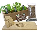 Indoor/Outdoor Herb Garden Kit - Classic Wood Planter Box with Herb Seeds, Plant Stakes and Expanding...