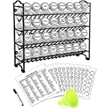 SWOMMOLY Spice Rack Organizer with 32 Empty Square Glass Spice Jars, 386 White Spice Labels with Chalk Marker and Funnel Complete Set, Seasoning Organizer for Countertop, Cabinet or Wall Mount