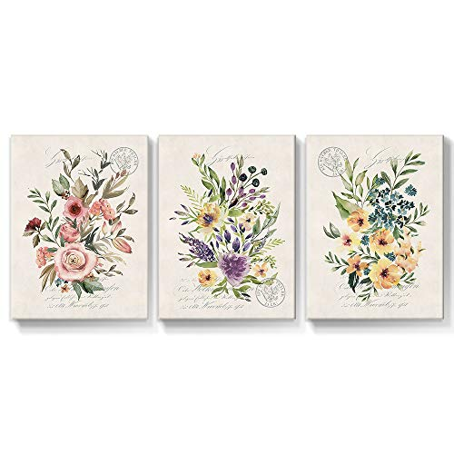 SUMGAR Cuadro de flores para pared, diseño vintage, amarillo y rosa, con diseño floral, impresión rústica, para dormitorio, baño, sala de estar, decoración del hogar, 30 x 40 cm, 3 paneles de regalo
