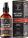 Retinol Face Serum with Hyaluronic Acid + Vitamin E and A + Aloe Vera Anti aging moisturizer Fade Dark Spots Clinical Strength Formula by InstaSkinCare 2Oz