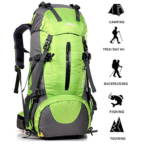 ONEPACK External Frame Hiking Backpack 50L Daypack Waterproof Outdoor Sport Trekking Bag with Rain...