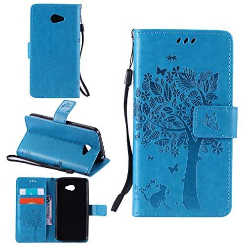 Sangrl Wallet Hülle Für LG K5 (2016), Mode PU-Leder Magnetisch Schliessen Schmetterling Handyhülle Mit Halterung Katze & Baum Geprägtes Design Hülle - Blau