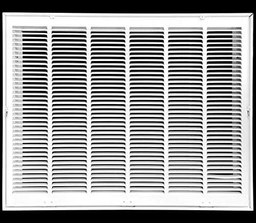 30' X 20 Steel Return Air Filter Grille for 1' Filter - Fixed Hinged - Ceiling Recommended - HVAC Duct Cover - Flat Stamped Face - White [Outer Dimensions: 32.5 X 21.75]