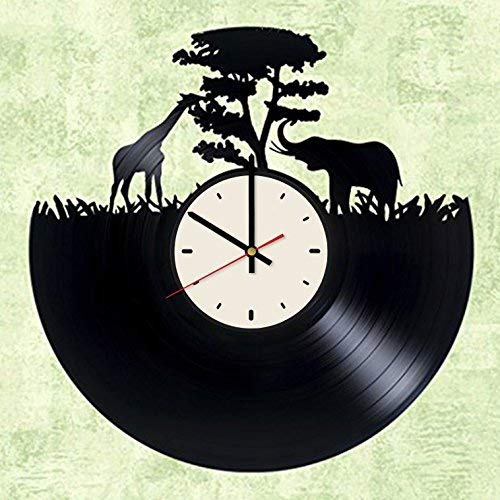 Giraffe Animal African Elephant Vinyl Record Wall Clock Artwork Gift idea for Birthday, Christmas, Women, Men, Friends, Girlfriend Boyfriend and Teens - Living Kids Room Nursery