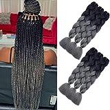 AQINBEL Braiding Hair for Women Ombre Jumbo Braiding Hair Extension 24 Inch 6PCS/Lot High Temperature Jumbo Braids for Twist Crochet Braiding Hair(Black to Deep Grey)