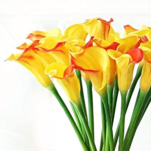 Meide Group USA 25″ Large Handmade Real Touch Latex Calla Lilly Artificial Spring Flowers for Arrangements, Bouquets, Weddings, and centerpieces (Pack of 5) (Yellow-Red)
