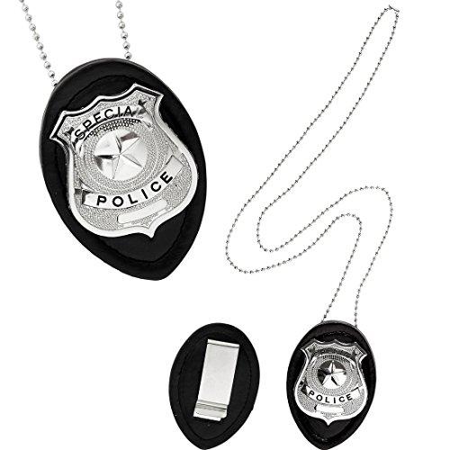 Amakando Distintivo policial Placa de policía Señalización de Rango en el Cuerpo de policía Accesorio Disfraz Oficial Marca de policía con Cadena Colgante de Agente de la Ley