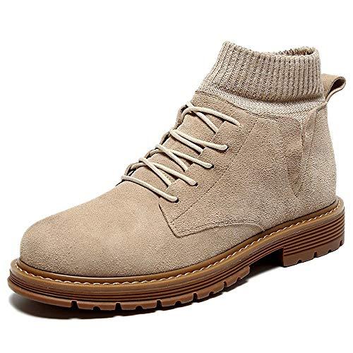 Comfortabel en ontspannen Outdoor enkellaars For Men Work Boots Lace Up Suède & Knit Patchwork ronde neus Platform Socks Collar Block Heel stikte Vegan hjm (Color : Sand, Size : 38 EU)