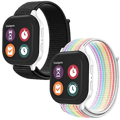 2 Pack Kids Replacement Nylon Bands Compatible With Gizmo Watch 2/1, Hook & Loop Design Easy for Kids to Put On & Off, Breathable & Washable, Black Rainbow