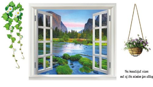 Large 3D River View Window Film Wall Stickers Office Home Decoration Art Mural Paper
