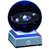 "ERWEI 3D Solar System Model Crystal Ball 80mm 3.15"" Laser Engraved Hologram with Light Up Base Planet Model Science Astronomy Learning Toys Educational Gift for Kids"