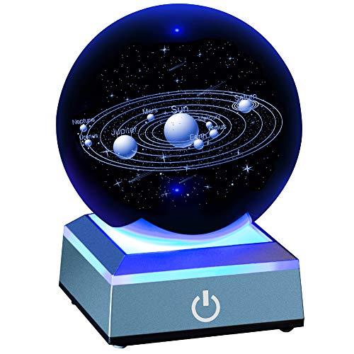 """Erwei Sonnensystem Kristallkugel 80mm 3,15 \""""mit 3D-Lasergravur Sonnensystem mit Touch-Schalter LED-Lichtbasis Kosmisches Modell mit Planetenname"""