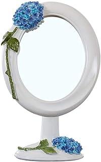 Asdfnfa Cosmetic Mirror European Beauty Mirror Creative Desktop Fashion Princess Vanity Mirror Desktop Makeup Mirror (Color : White)
