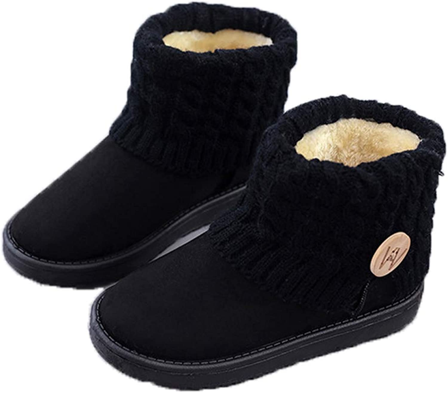T-JULY Women's Boots Winter Warm Snow Mid Calf Girls Thick Plush Flock shoes