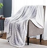 Monbix Throw Blankets Soft Fuzzy Warm, Fluffy Throw Blankets Couch Fleece, Throw Blankets Bed Cozy Machine Washable - Light Grey Plaid