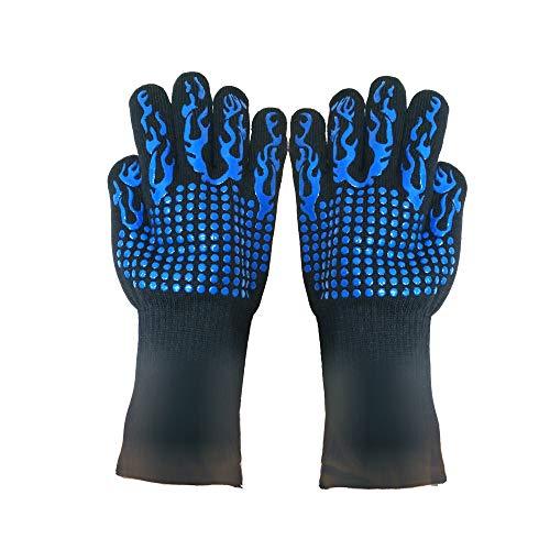 BaronHong 932 ° F Extrem hitzebeständige Grillhandschuhe Topflappen, rutschfeste silikonbeschichtete Topflappen zum Kochen, Backen, Grillen, Camping, Kamin und für die Mikrowelle (Blue-Torch, M)