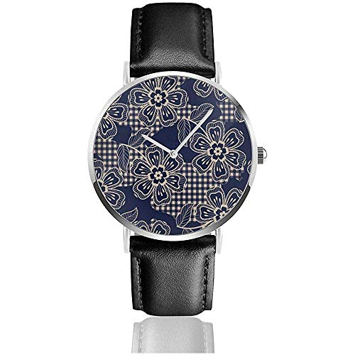 Eklektischen Stoff Plaid Barock Lederband Armbanduhren Edelstahl Quarzuhr