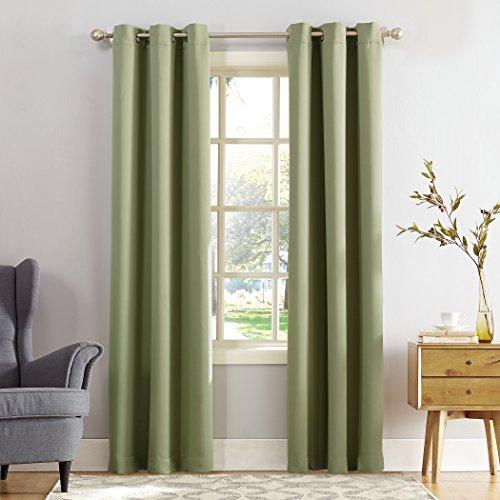 Sun Zero 53453  Easton Blackout Energy Efficient Grommet Curtain Panel, 40' x 63', Sage Green
