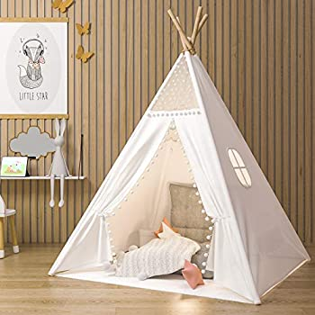 JoyNote Teepee Tent for Kids Indoor Tents with Mat Inner Pocket Unique Reinforcement Part - Foldable Play Tent Canvas Tipi Childrens Tents for Girls & Boys