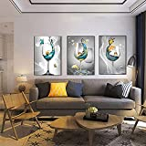 Arte de pared moderno Pintura en lienzo Navegación abstracta Copa de champán Obra de arte Mural Sala de estar Carteles e impresiones Decoración para el hogar 50x75cm (19.69x29.53in) x3 Sin marco