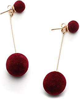 18K Gold Plated Two-Tone innovative Double Grey/wine red Plush ball Women Dangle Earrings