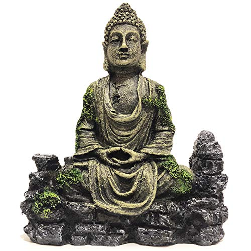SLOCME Aquarium Buddha Statue Decorations - Aquarium Decor Ornament Fish Tank Buddha Statue Decoration