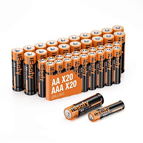 Batterien IEsafy 20 X AA und 20 X AAA Alkaline Batterie Alkalische Zelle 1.5V Einwegbatterien Langlebige Kraft Lange Lagerzeit für Spielzeug Taschenlampe Fernbedienung Radio Wecker und Uhr