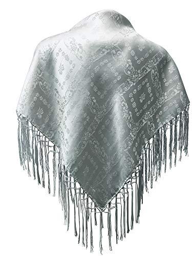 Trachten Mayr Dirndl-Trachtentuch Seidentuch Tuch silber 75x75cm Dirndltuch Seide Fransentuch für Tracht Trachtenseidentuch mit Fransen Schultertuch Halstuch silk clouth hochwertigste Qualität!