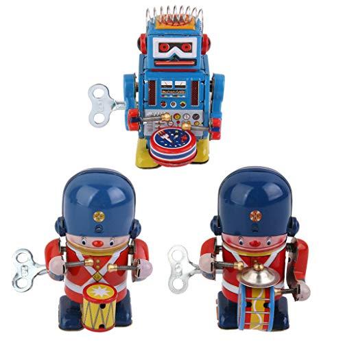 perfeclan Giocattolo di Latta del Meccanismo a Tamburo del Meccanismo del Tamburo del Robot del Batterista dell'Annata 3pcs