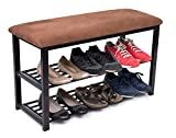 BirdRock Home Storage Shoe Rack Bench for Entryway - Brown - Cushion Seat - Metal - Entrance Sitting - Shoe Holder - Front Door Organizer - Home Storage