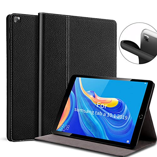 Gexmil for Galaxy TAB A 10.1 2019 Case,Genuine Leather Cover for Samsung Galaxy TAB A 10.1 Inch Model SM-T510 SM-T515 SM-T517 2019 Release (Black)