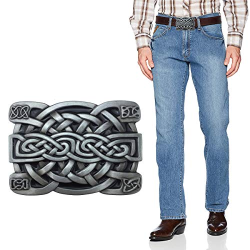 XGALA Fashion Mens Retro Western Cowboy Celtic Knot Metal Belt Buckle Black Enamel, Medium