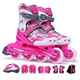 GGOODD Patines de 4 ruedas para niños, tamaño ajustable, patinaje superior fluorescente, PU para niños y niñas, color rosa, Q