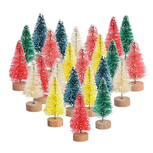 Hvinie Multicolor Mini Sisal Trees Mini Christmas Tree Plastic Winter Snow Tabletop Trees for Holiday Party DIY Room Decor Home Table Top Christmas Decoration Diorama Models 24pcs