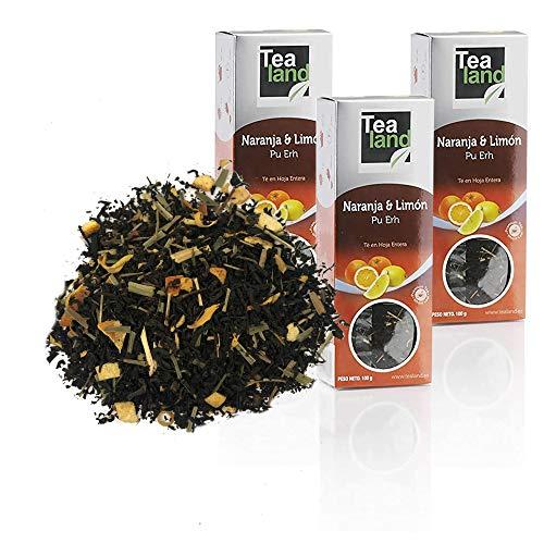 Tealand | Te rojo pu erh Naranja y Limón, Hojas Sueltas | Pack de te rojo a granel | 3 x 100 gr