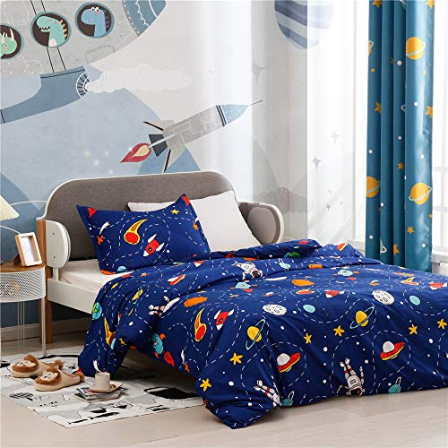 NIUXUAN 2 Piece Baby Twin Duvet Cover Set-Cute Patterns for Baby, Comfortable Breathable Bedding Set-Perfect for Boys/Girls Quilt Set with Zipper Closure 1 pc Duvet Cover + 1 Pc Pillow Cover (Space)