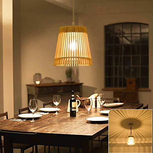 DLLT Wooden Hanging lamp LED Ceiling Pendant Light Fixture-8W Decoration Light Fixture with Adjustable Cord,Rustic Hanging Lighting for Dining room, Kitchen, Restaurant, Living Room, Cafe Bar Shop War