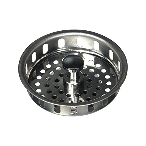 Highcraft 97343 Kitchen Sink Basket Strainer Replacement for Standard Drains (3-1/2 Inch) Spring Closure and Rubber Stopper, Stainless Steel