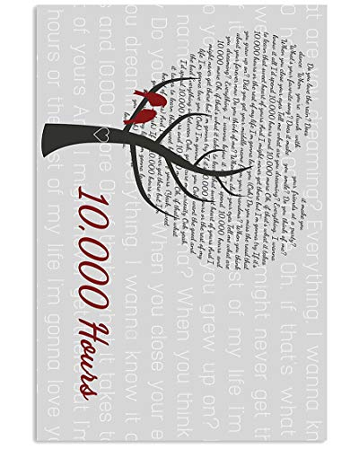 #Dan #Shay #JustinBieber 10,000 Hours Lyrics Heart Tree Song Poster Gift for Men Woman Poster Home Art Wall Posters [No Framed]