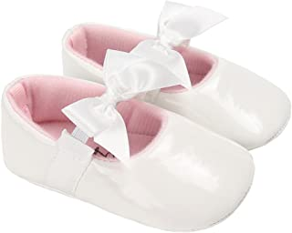 Baby Girls Shiny Patent Leather Mary Jane Princess Dress Flat Shoes with Bowknot